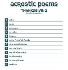 thanksgiving acrostic poems with one words 2nd grade
