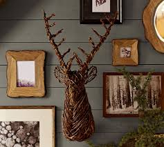 Christmas Decor Deer Head by Woven Reindeer Head Pottery Barn