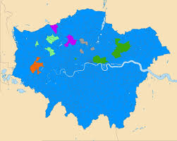 Map Of London England by Map Of London England By Religion Blue Christianity Green