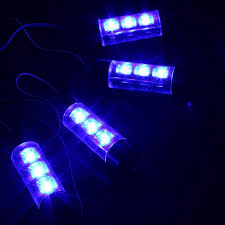 Car Interior Blue Lights Blue 4 In 1 12v 4 X 3 Led Car Interior Light Decorative Atmosphere