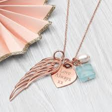 rose coloured necklace images Personalised rose or yellow gold angel wing necklace by jpg