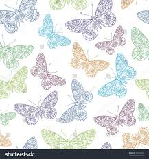 vector seamless pattern beautiful ornamental butterflies stock