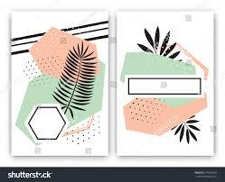 set tropical exotic card design memphis stock vector 576628975