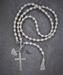 rosary necklace with cross images Modern pearl rosary necklace zen sisters jewelry jpeg