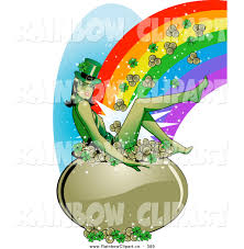 vector clip art of an attractive leprechaun woman sitting in a pot
