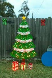 Christmas Yard Decor - wooden christmas tree yard decor made out of plywood 250 lights