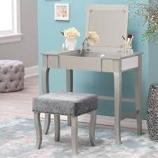 bedroom vanity table with lighted mirror corner makeup vanity