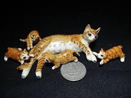 set animal cat ceramic figurines miniature statue decor home