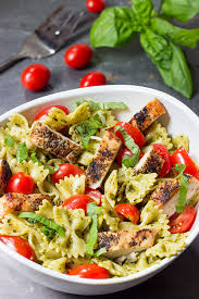 easy cold pasta salad pesto pasta with grilled chicken