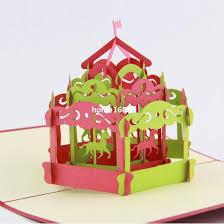 carousel pop up card 3d greeting card handmade kirigami