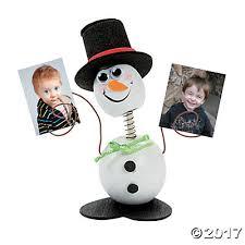 wooden snowman snowman bobblehead photo holder craft kit