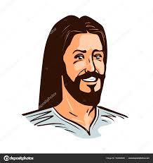 imagenes de jesucristo animado retrato de feliz jesucristo vector ilustración de dibujos animados