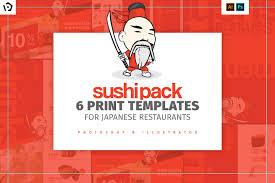 sushi restaurant menu template brochure templates creative market