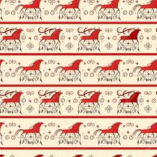 merry christmas card with seamless pattern fairy horse symbol of