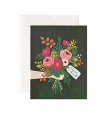 gold floral greeting card by rifle paper co made in usa