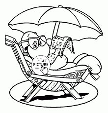 funny turtle on the beach coloring page for kids seasons coloring
