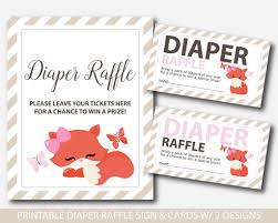 raffle baby shower fox raffle tickets fox raffle card sign fox baby shower