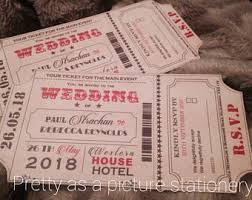 Movie Ticket Wedding Invitations Cinema Movie Ticket Wedding Invitation With Wallet Navy Silver