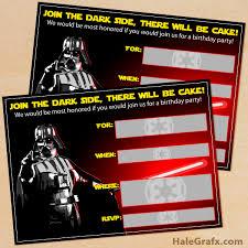 printable star wars darth vader birthday invitation