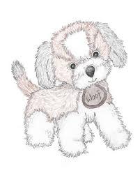 puppy nursery art original drawing print puppy dog sketch
