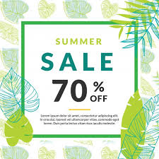 summer sale summer sale template with palm leaves vector free