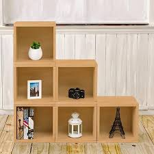Bookcase Clips Storage Cubes In Natural Wood Grain And Cubby Bookcase Way Basics