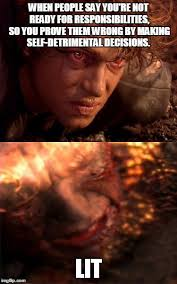 Anakin Skywalker Meme - anakin skywalker burning memes imgflip