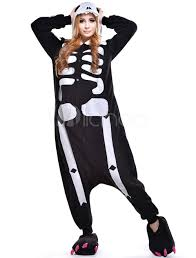 Halloween Costume Skeleton Kigurumi Pajama Skeleton Onesie Fleece Flannel Halloween