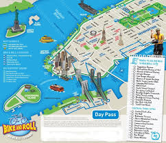 map of new york city with tourist attractions new york city bike and roll map new york city vacations inc