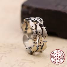 sted rings 925 sterling silver men s rings character vintage fish with