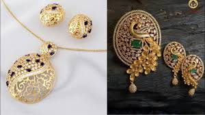 gold earrings necklace images Daily wear simple pendant set design ideas office wear simple gold jpg