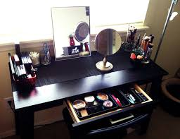 Diy Desk Vanity Diy Wood Makeup Vanity Table Painted With Black Color Plus Drawer