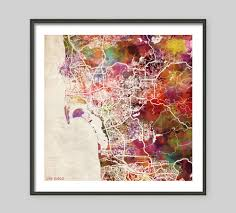 Home Decor San Diego by San Diego Map California Watercolor Painting Old Paper
