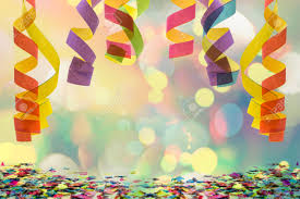 streamers paper colourful paper streamer hanging from top with confetti on the