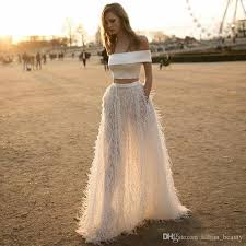 feather evening dresses ivory two piece prom dresses off shoulder