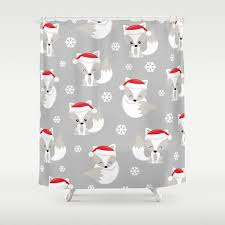 the spell of the christmas foxes 2 shower curtain by magic dreams