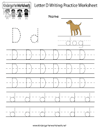 Resume Builder For Kids Free Letter D Writing Practice Worksheet For Kindergarten Kids
