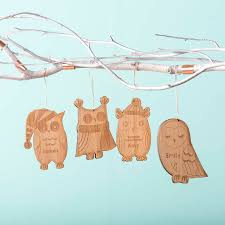 bamboo personalised owl christmas decorations by oakdene designs