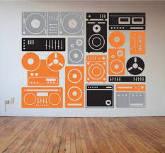 music boombox speakers and music equipment wall decal zoom
