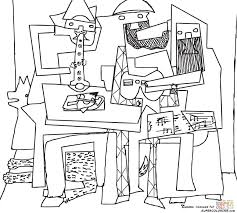 three musicians by pablo picasso coloring page free printable
