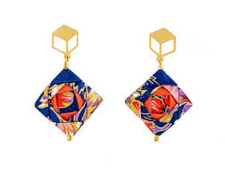 japan earrings mosaic earrings origami earrings origami jewelry origami
