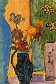 Flowers With Vases Still Life Flowers With Blue Vases And Pink Wallpaper Alexej