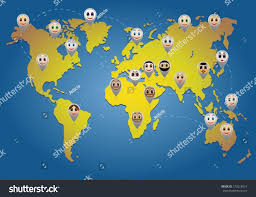 Vector World Map World Map Different Nationality Smileys Stock Vector 172615814