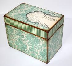 4x6 photo box recipe box teal and brown damask handmade 4x6 wooden recipe box