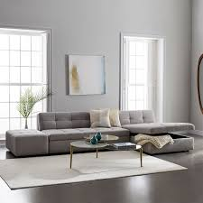 Sectional Sofa With Storage Chaise Plateau 3 Piece Storage Chaise Sectional W Ottoman West Elm