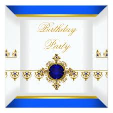 royal blue gold jewel birthday invitations u0026 announcements zazzle