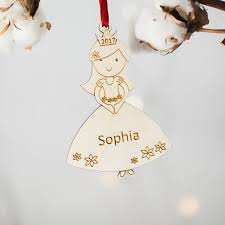 princess personalised christmas tree decoration by wooden toy