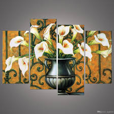 best fashion wall painting white lily flower oil painting hd image