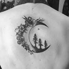 flowers with moon on back