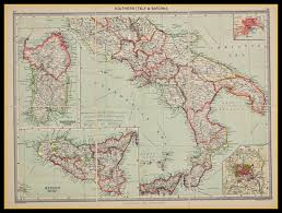 Map Of Sardinia Italy by Old Map Of Southern Italy And Sardinia Circa 1900